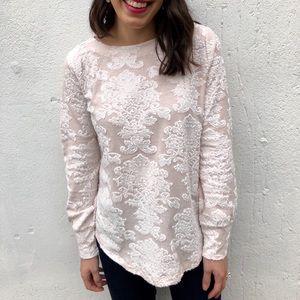 Pink textured sweatshirt